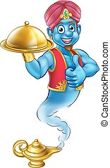Cartoon Genie Serving Food - A cartoon genie like in the...