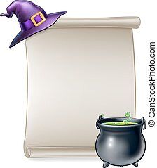 Halloween Cartoon Scroll Sign - A cartoon Halloween scroll...