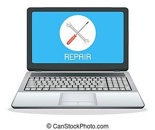 laptop computer with repair logo