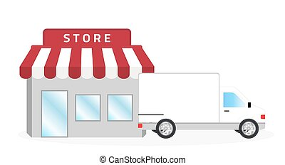 store and white truck vector