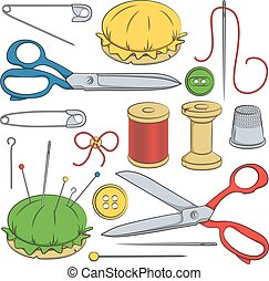 Set of sewing supplies.