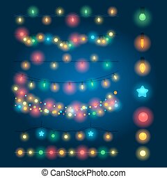 Christmas string lights vector illustration. Fairy xmas...