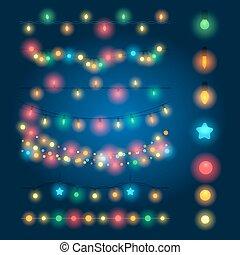 Christmas string lights vector illustration. Fairy xmas...