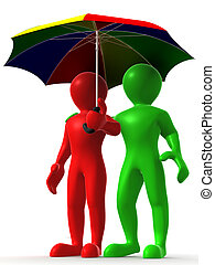 Two man with umbrella. 3d