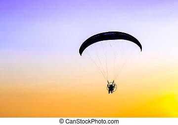 céu, Planador, voando,  paramotor