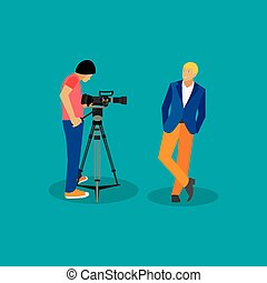 Movie shooting concept vector banners in flat style. Actor poses for camera man. Cinema design elements and icons