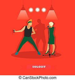 Singer couple sing a song on stage. Vector illustration in flat style design