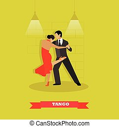Couple dance tango concept vector poster. Man and woman dancing on a stage