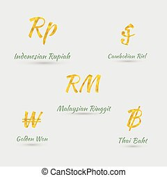 Set with Five Southeastern Asian Currencies Made with Golden...