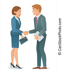 Handshake business woman and business man - Concept of...
