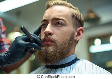 Hipster in barber shop - Young man in barber shop