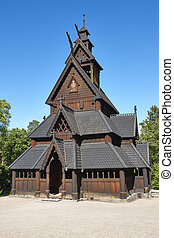 Norwegian Oslo restored stave church. Gol. Bygdoy. Norsk...