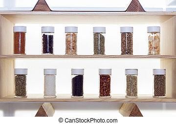 Set of species in glass bottles