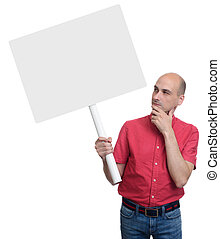 Casual man with a banner