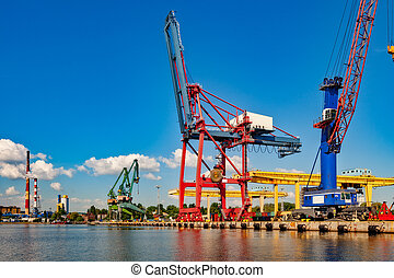 Big gantry crane - Big Gantry Cranes in port of Gdansk,...