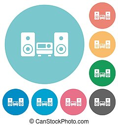 Flat hifi icons - Flat hifi icon set on round color...