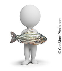 3d small people - fisherman and fish - 3d small people with...