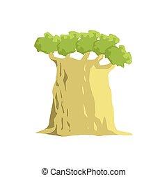 Wide Old Baobab Tree Jungle Landscape Element. Simple...