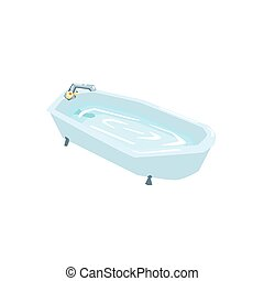 Bath Tub Filled With Water Cool Colorful Vector Illustration...
