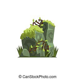 Old Stones Covered In Moss Jungle Landscape Element. Simple...