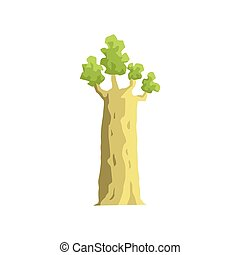 Young Baobab Tree Jungle Landscape Element. Simple Tropical...