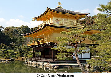Temple of Golden Pavilion, Japan - Front view of the Temple...