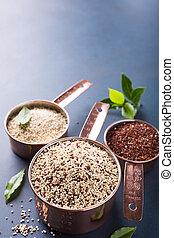 mezclado, crudo, Quinoa