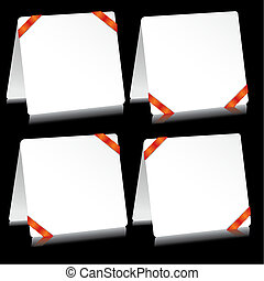 Set of sheets of paper as note pads with  red clamps, vector illustration