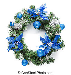 Christmas blue wreath isolated on white.