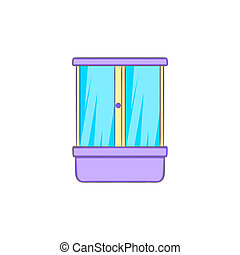 Shower cubicle icon in cartoon style