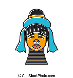 Karen long neck woman with traditional coils icon - icon in...