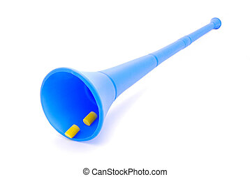Vuvuzela with earplugs - A traditional real blue noisy...