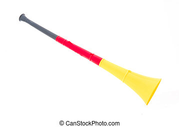 Vuvuzela in black, red and gold German flag colors as fan...