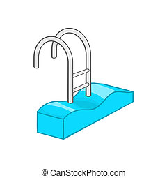 Stairs of the swimming pool icon, cartoon style - icon in...