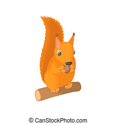 Squirrel gnaws a nut icon, cartoon style - Squirrel gnaws a...