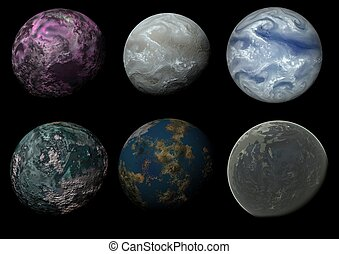Six worlds - Illustration of six alien worlds