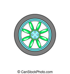 Car wheel icon in cartoon style - icon in cartoon style on a...