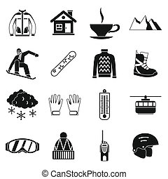 Snowboarding icons set, simple style - Snowboarding icons...