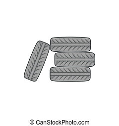 Pile of black tires icon, cartoon style - icon in cartoon...