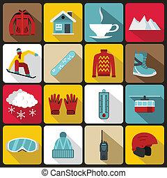 Snowboarding icons set, flat style - Snowboarding icons set...