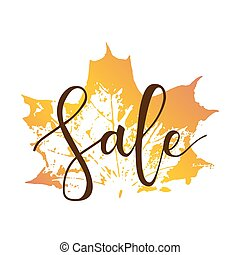 Sale hand written inscription with fall maple leaf on white...