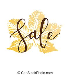 Sale hand written inscription with fall chestnut leaf on...