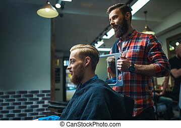 Customer in barber shop - Attractive man in barber shop