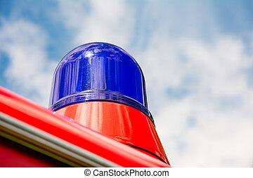 azul, fogo, caminhão,  oldtimer, luz