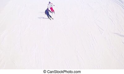 Skiing top of view in slowmotion. Siberia 1920x1080 - skiing...