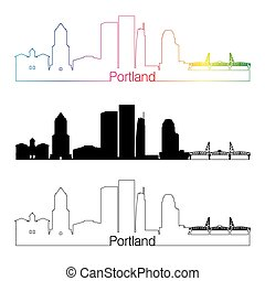 Portland V2 skyline linear style with rainbow in editable...