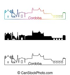 Cordoba skyline linear style with rainbow in editable vector...
