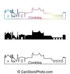 Cordoba skyline linear style with rainbow in editable vector...