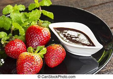 Strawberry fruit with chocolate