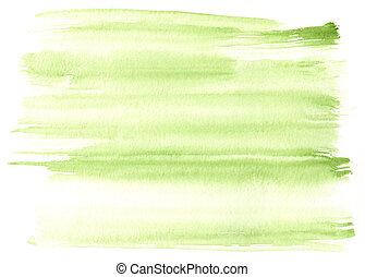 grande, verde, aquarela, fundo, -, aquarela, tintas,...